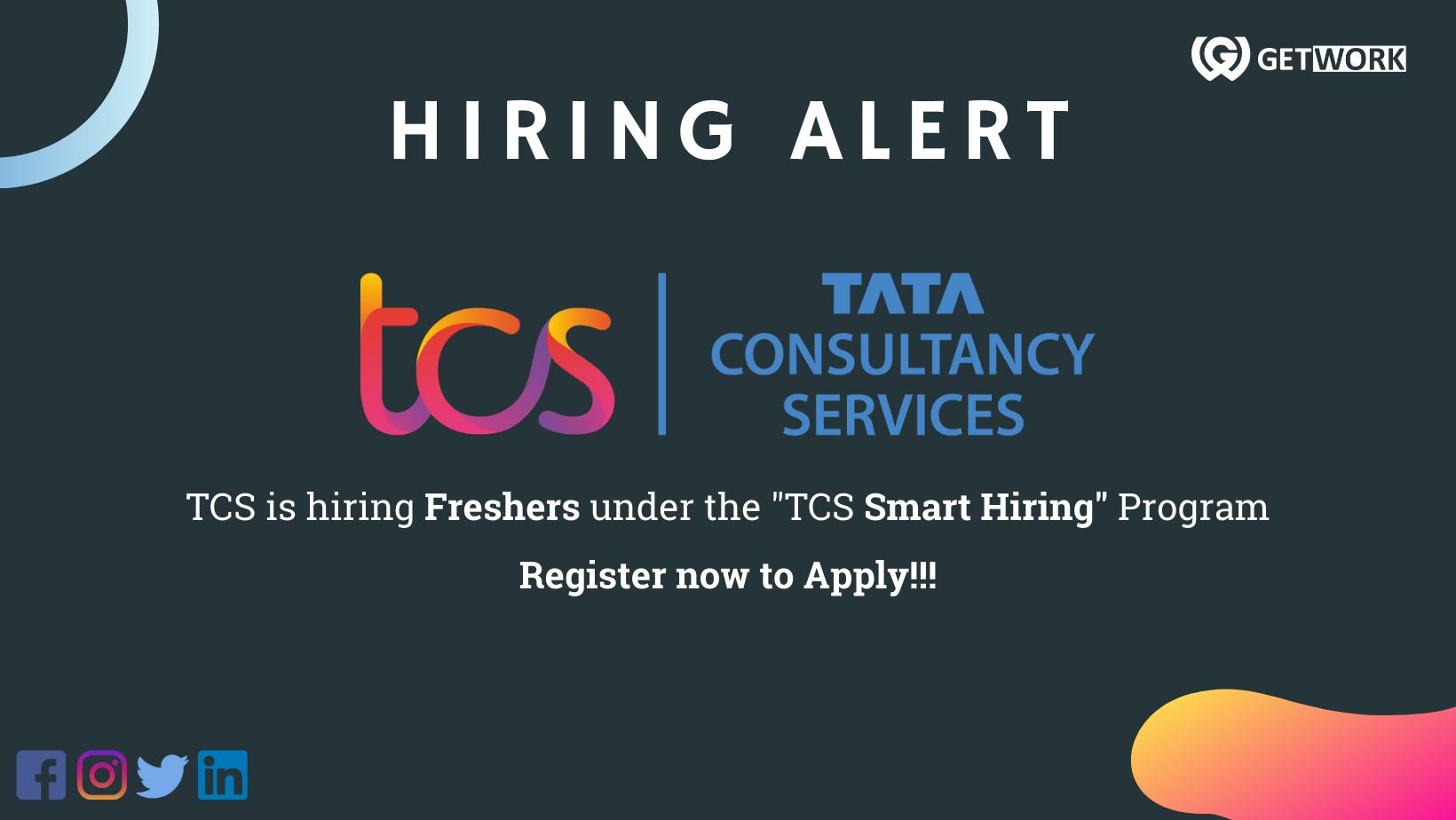 "TCS is hiring freshers under ""TCS Smart Hiring Program""/ TCS hiring for freshers"