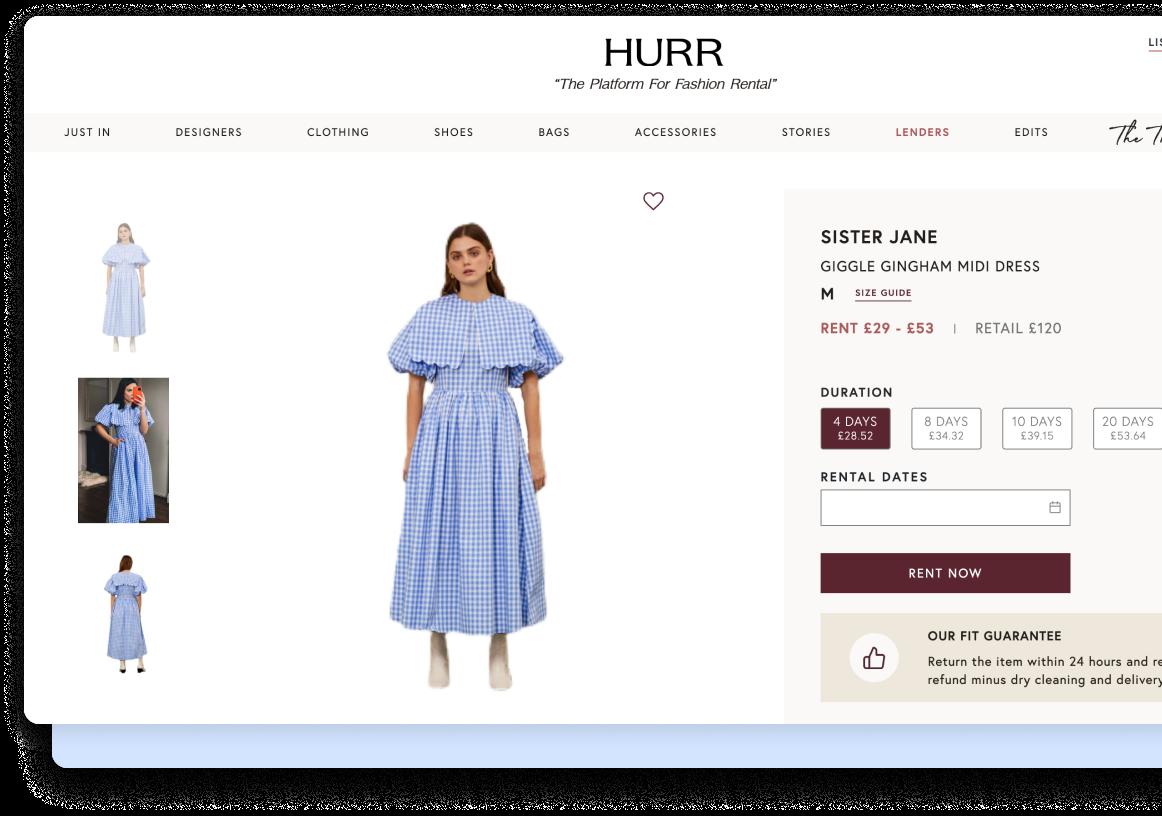 A screenshot of the HURR website