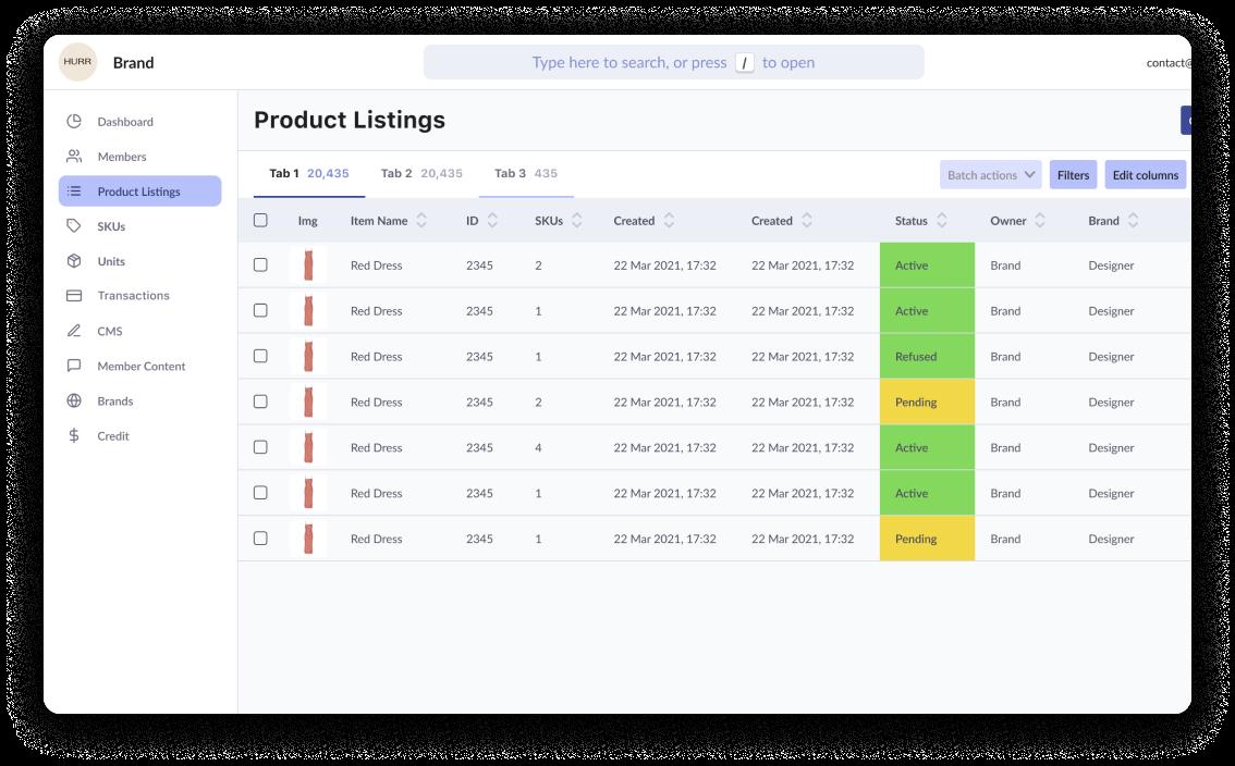 A screenshot of the HURR Enterprise dashboard