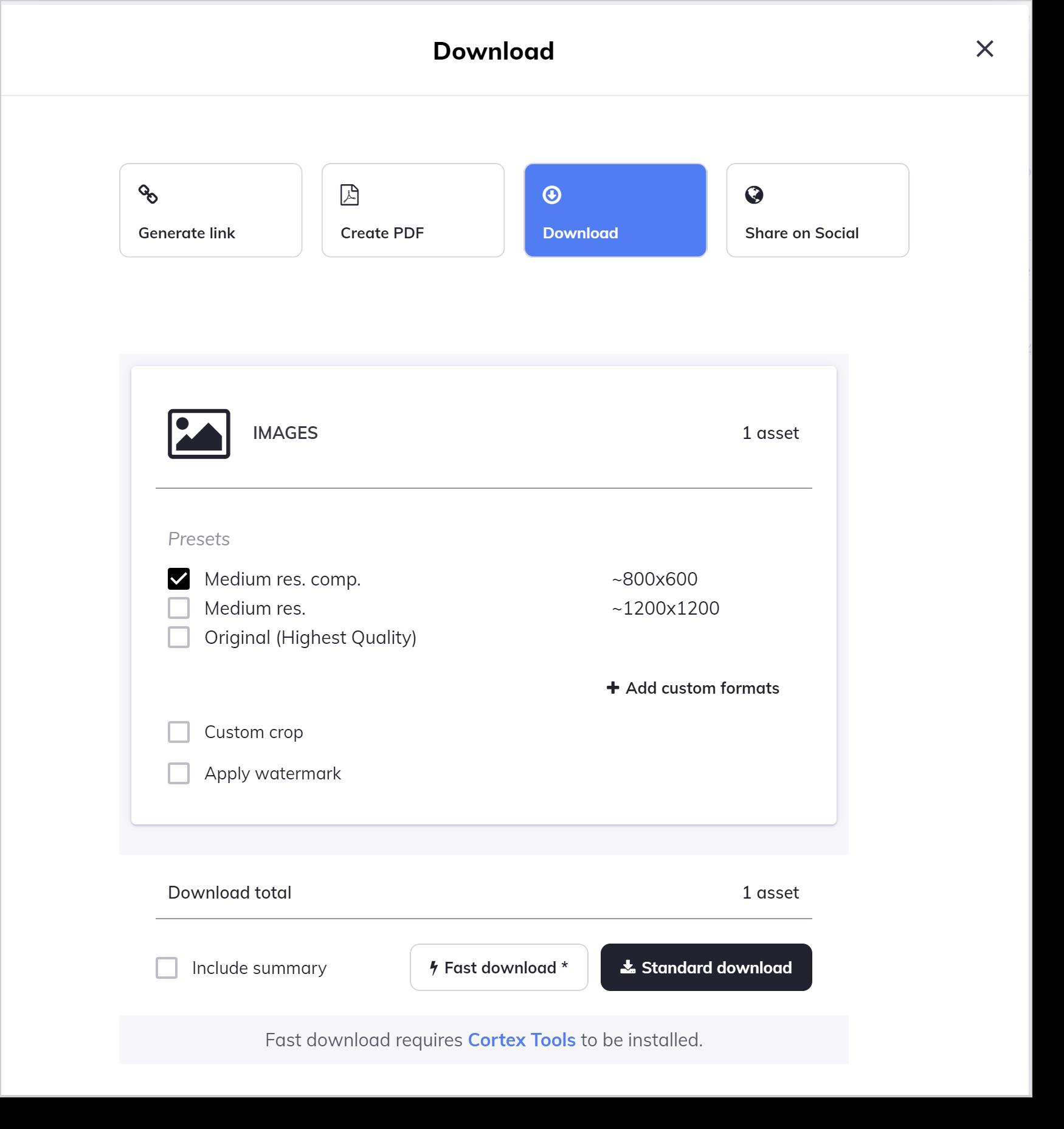 asset download request options