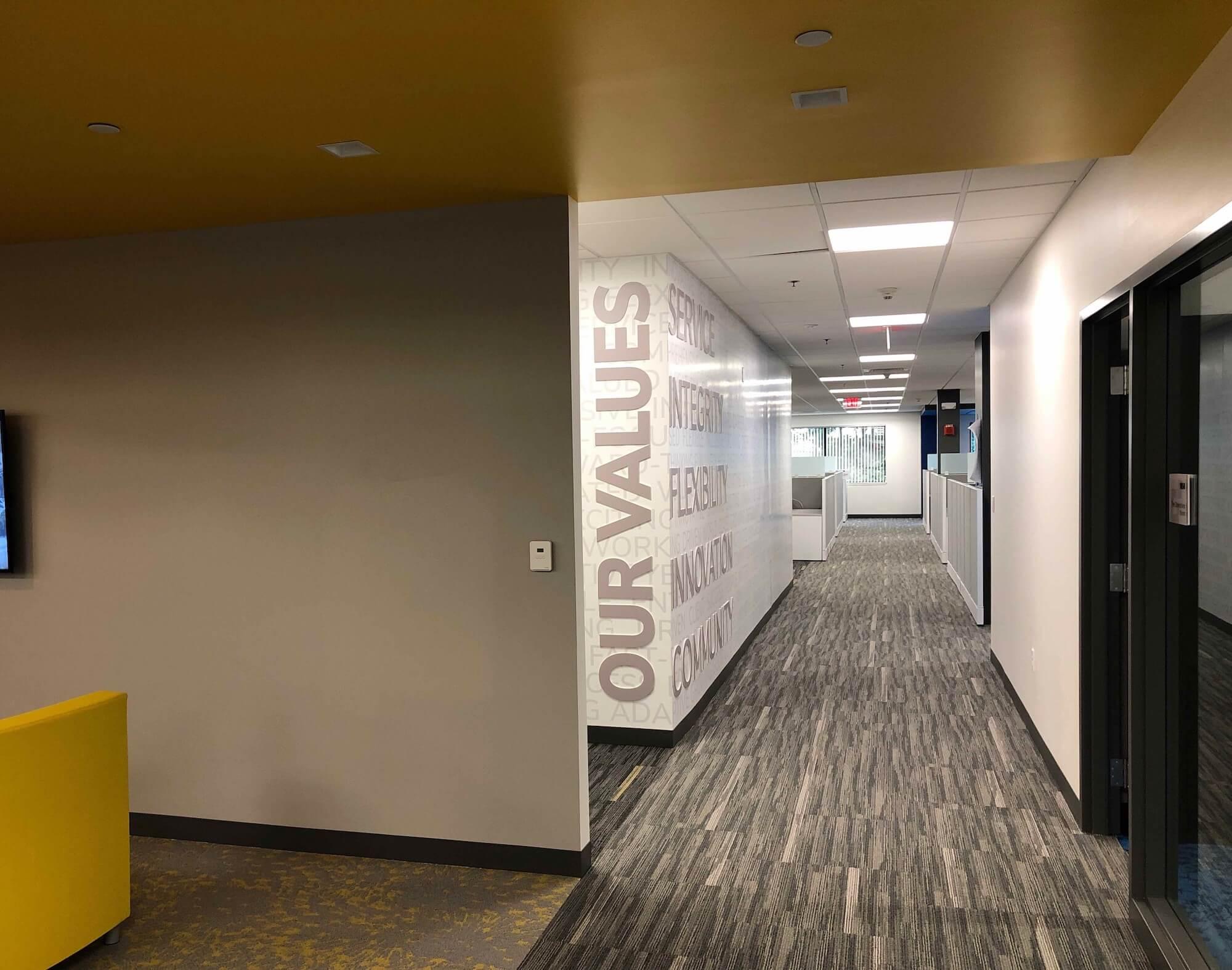 Interior of office hallway