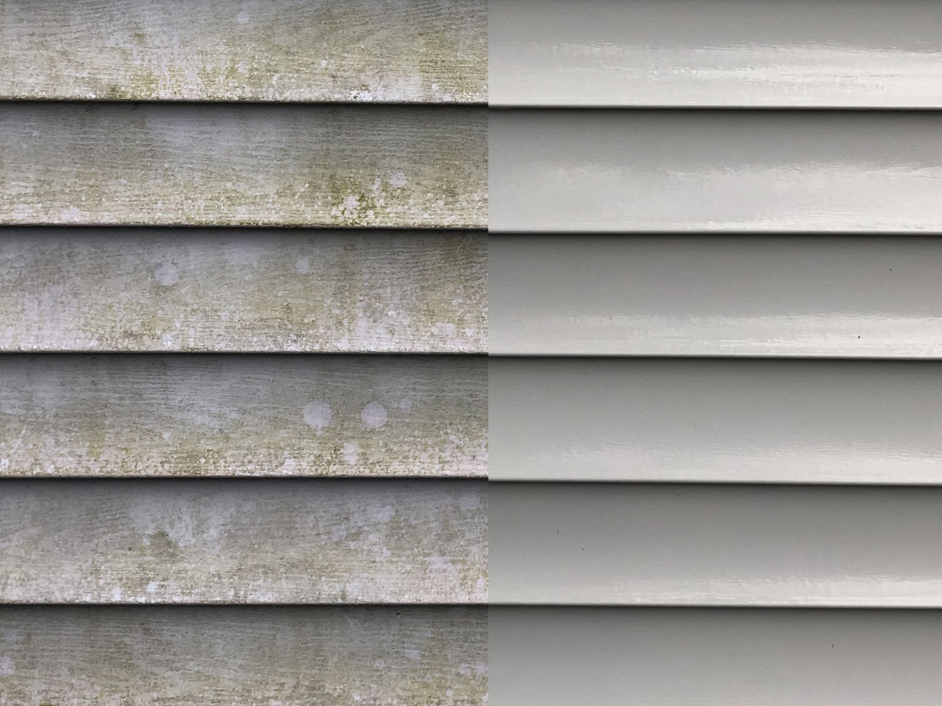 Siding that has been washed clean of dirt and black streaks
