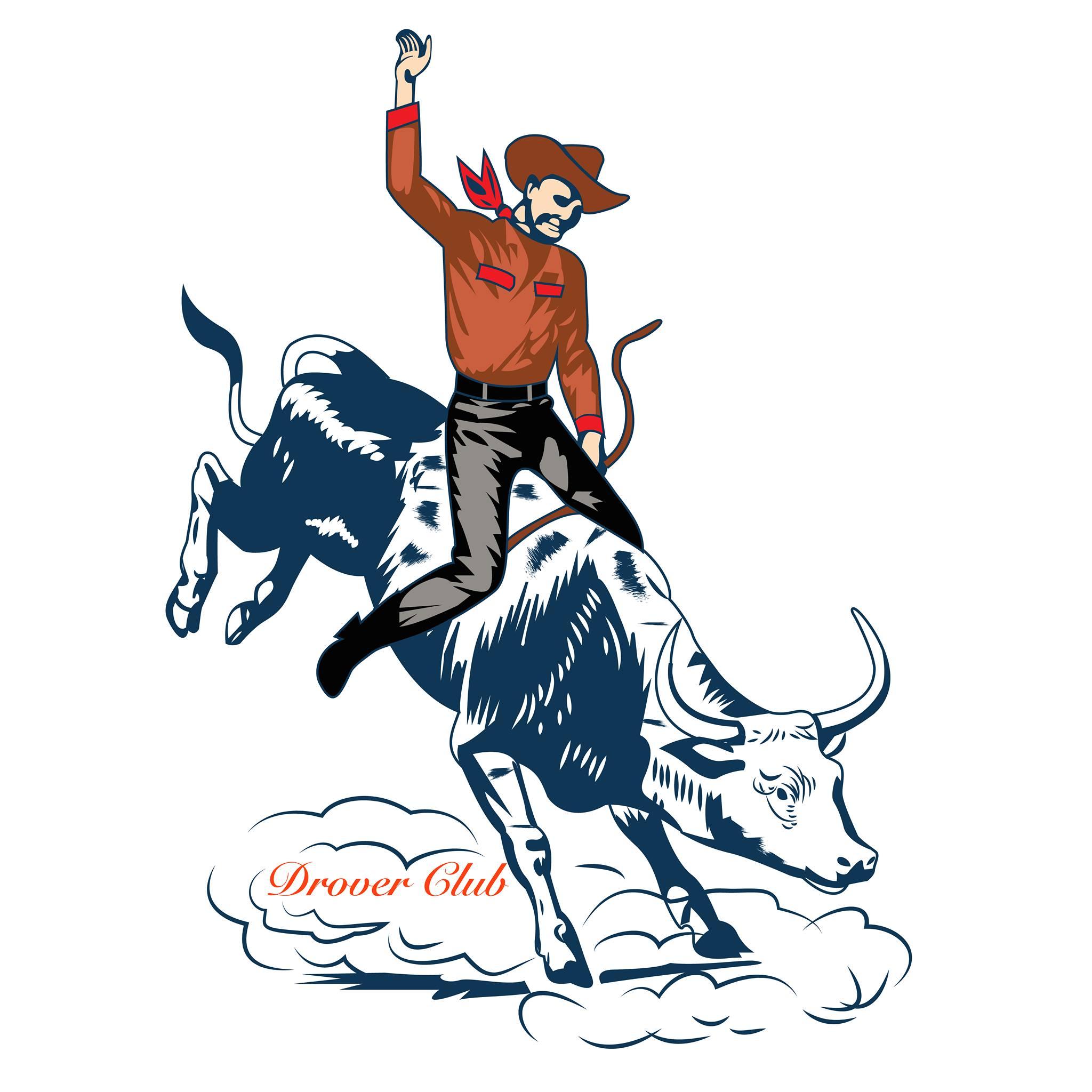 Cowbow on bull print
