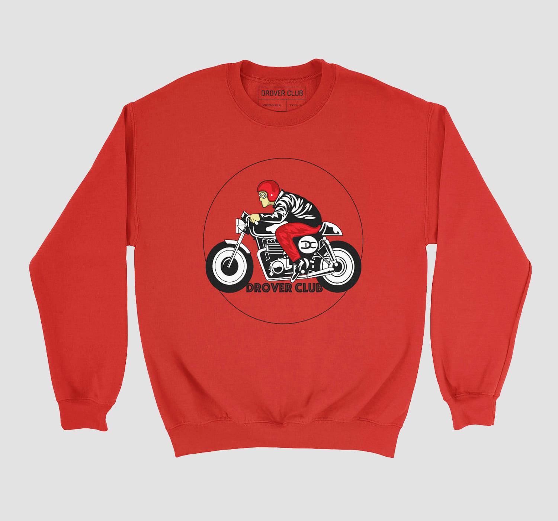 Motorcycle Rider Print Crewneck