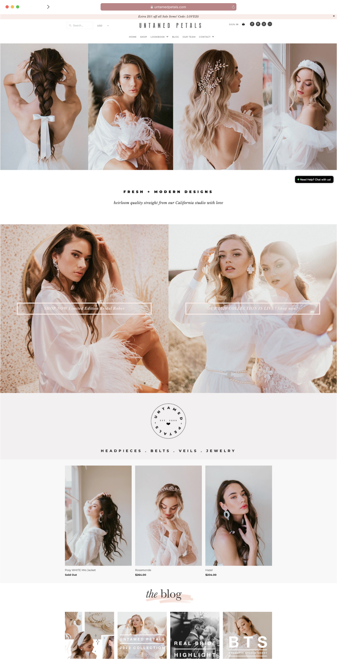 a mock up of a web page for untamed petals