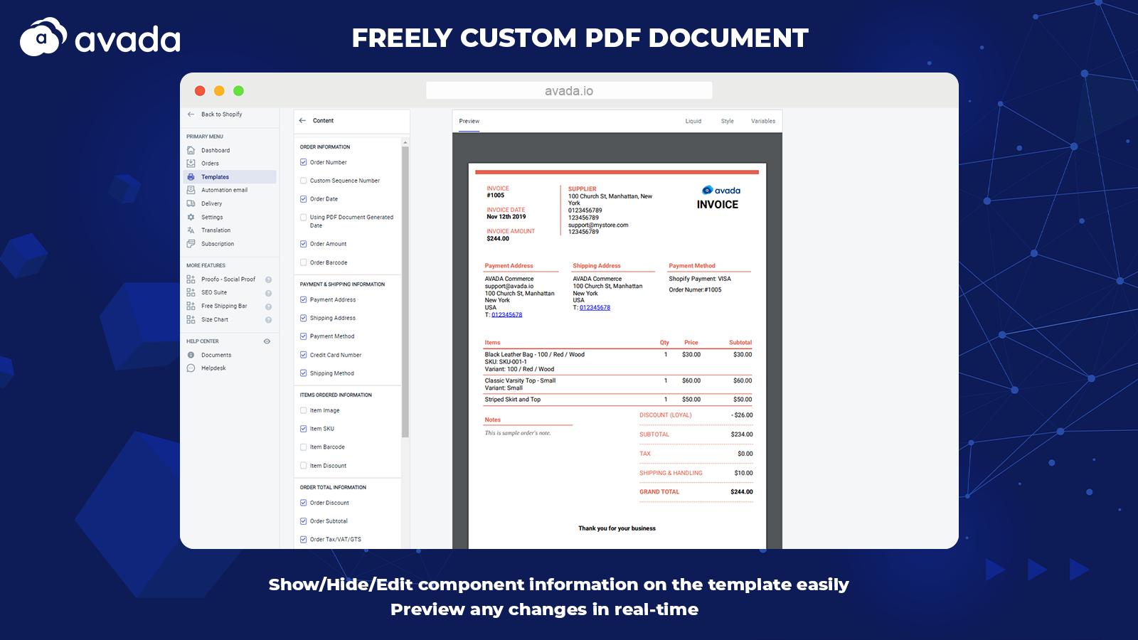PDF Invoice: Order Printer+