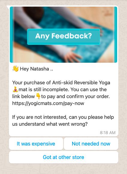whatsapp abandoned cart recovery Shopify - customer feedback