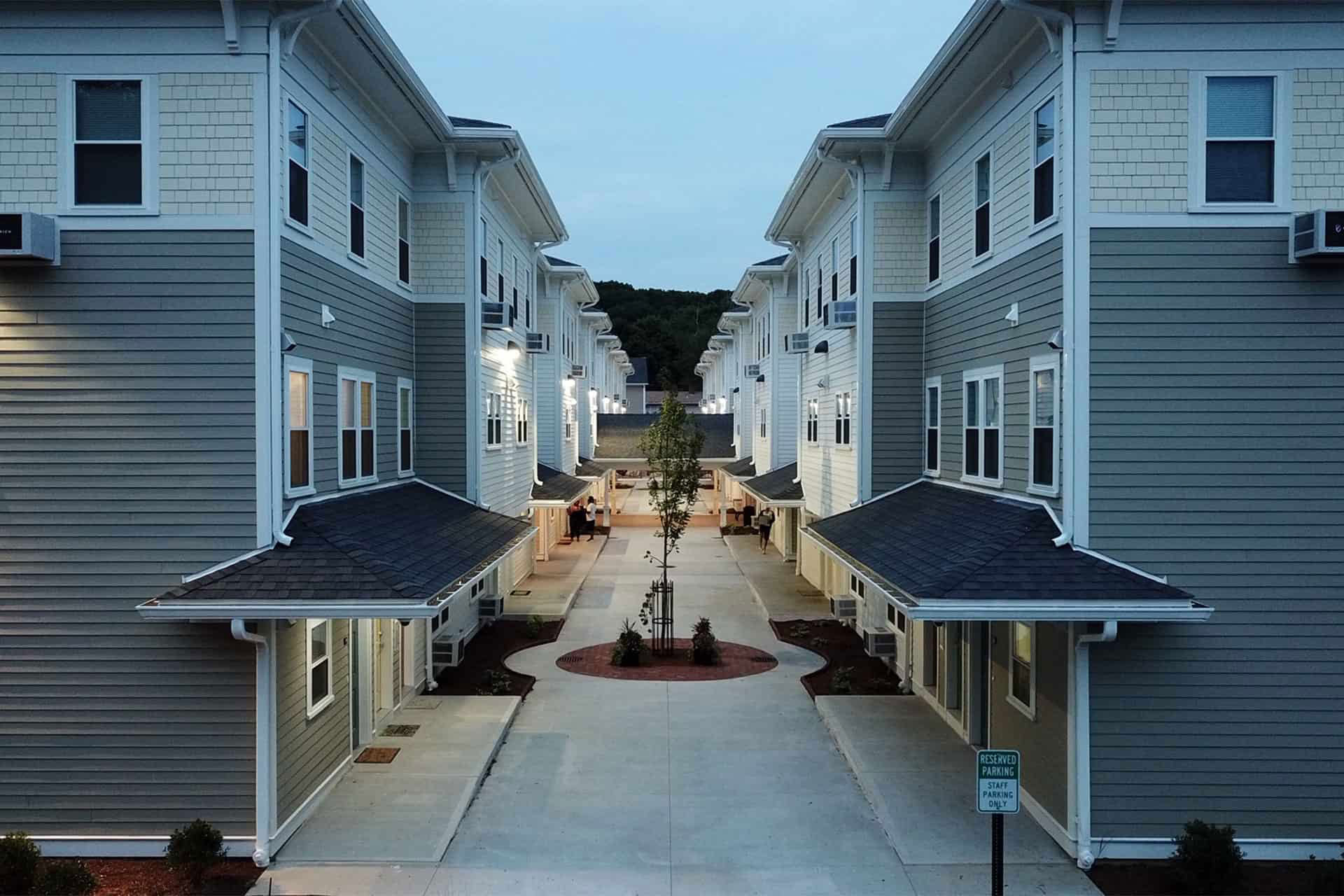 Courtyard at dusk in the Maplewoods development