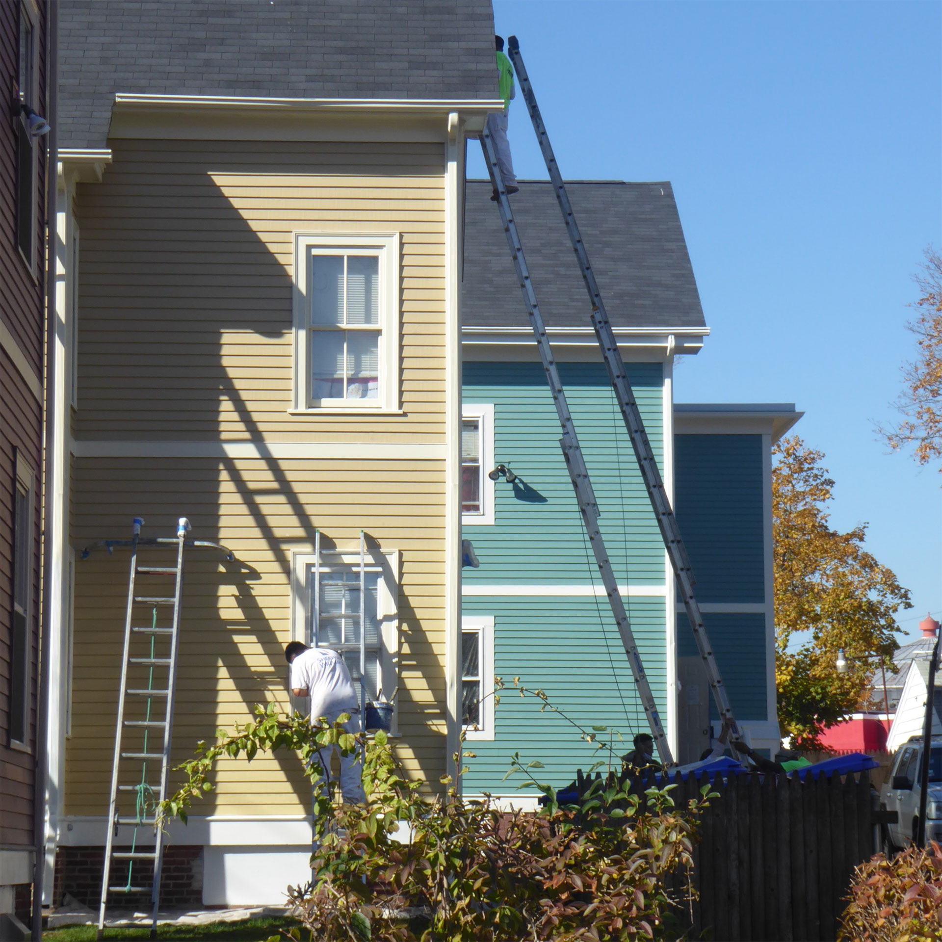 Historic houses being painted as part of the ongoing maintenance program of SWAP.