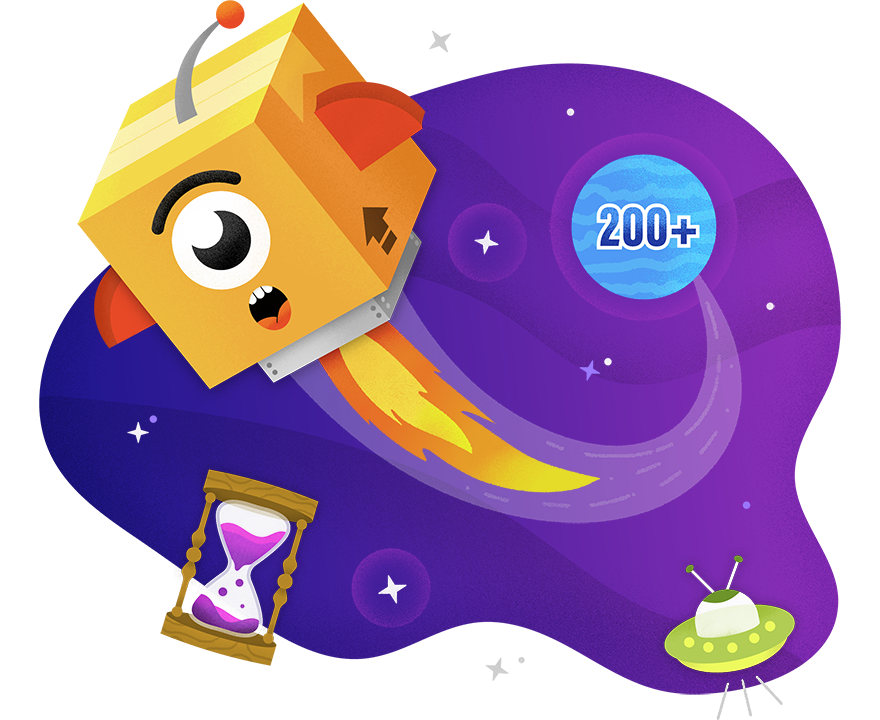 PAX zooming through space with planet, hourglass, and UFO