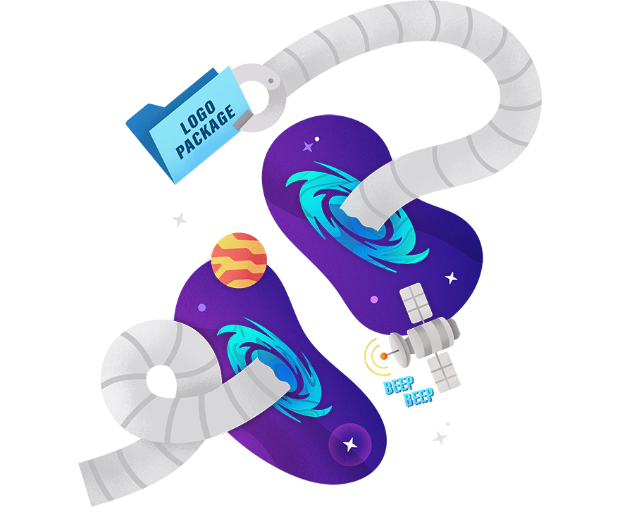 PAX's robot arm going through a portal in space and plucking out a logo package