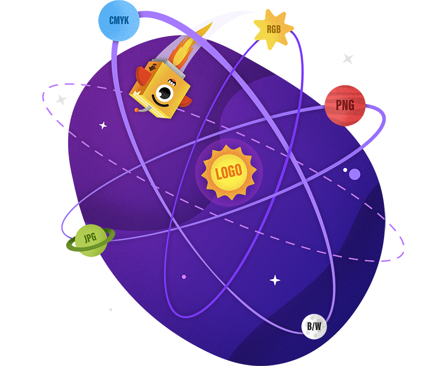 PAX flying across solar system with file format planets orbiting a logo sun
