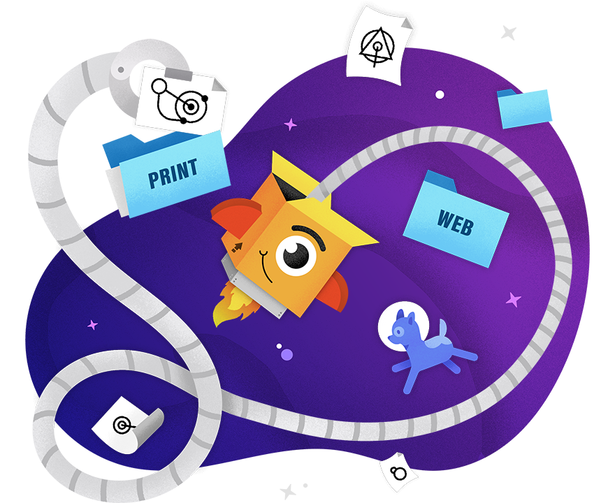 PAX sorting logos in space with floating astronaut dog