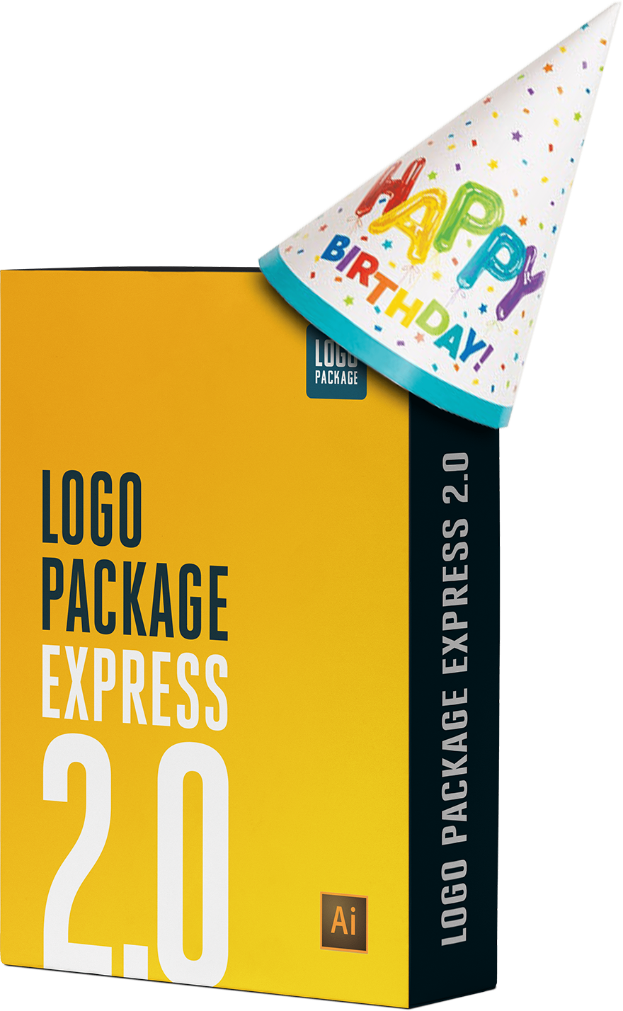 Logo Package Express 2.0 box wearing a birthday hat