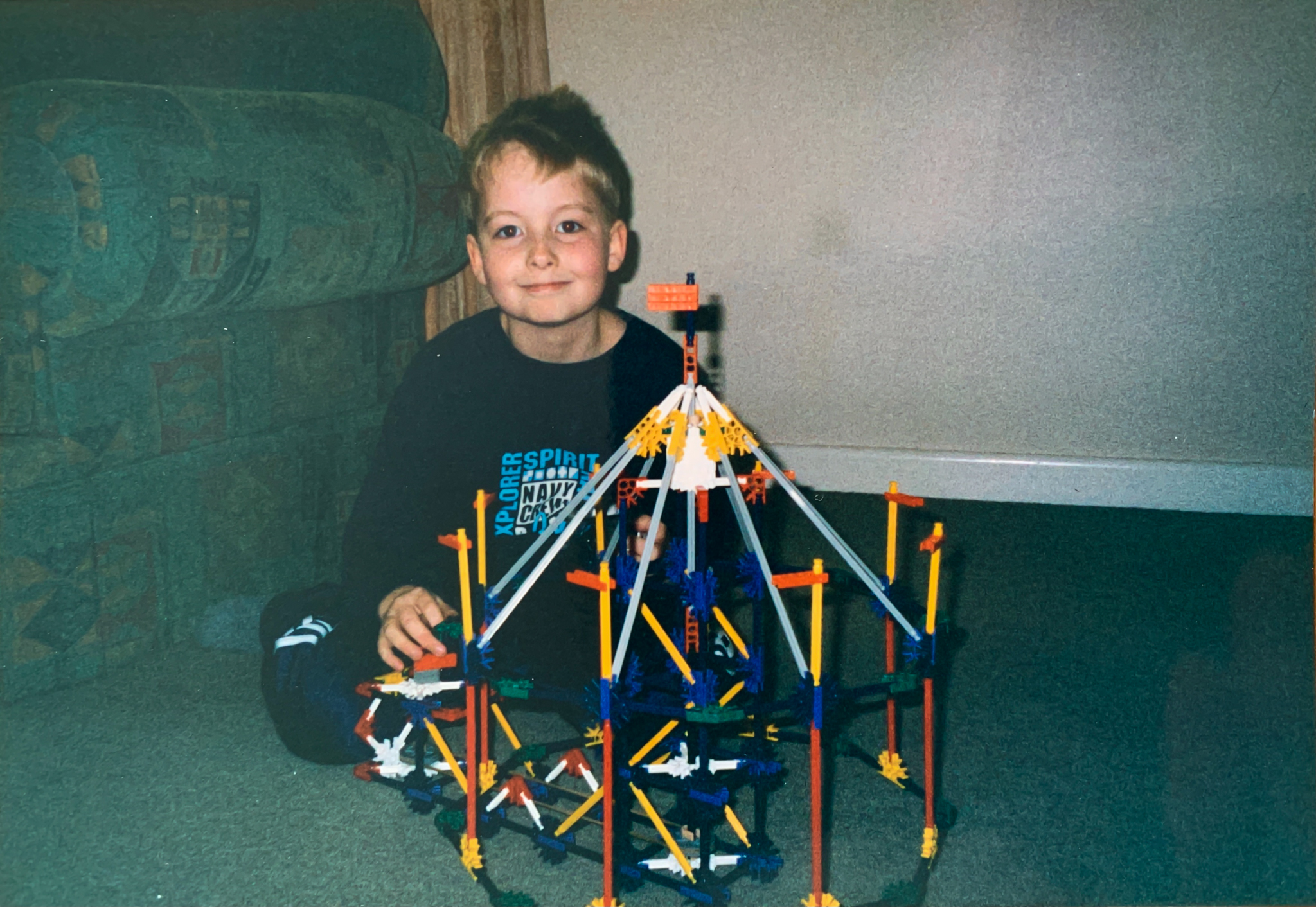 Me 6, showing off my first invention with K'NEX