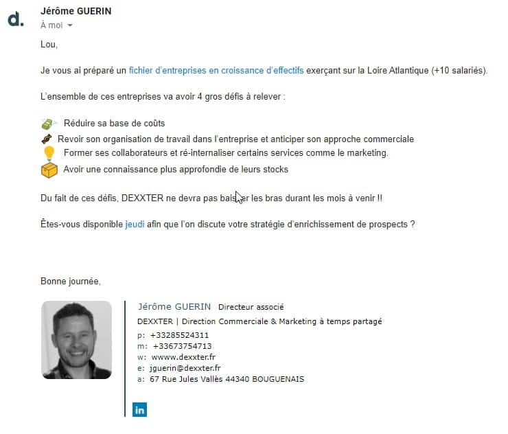 cold emailing exemple