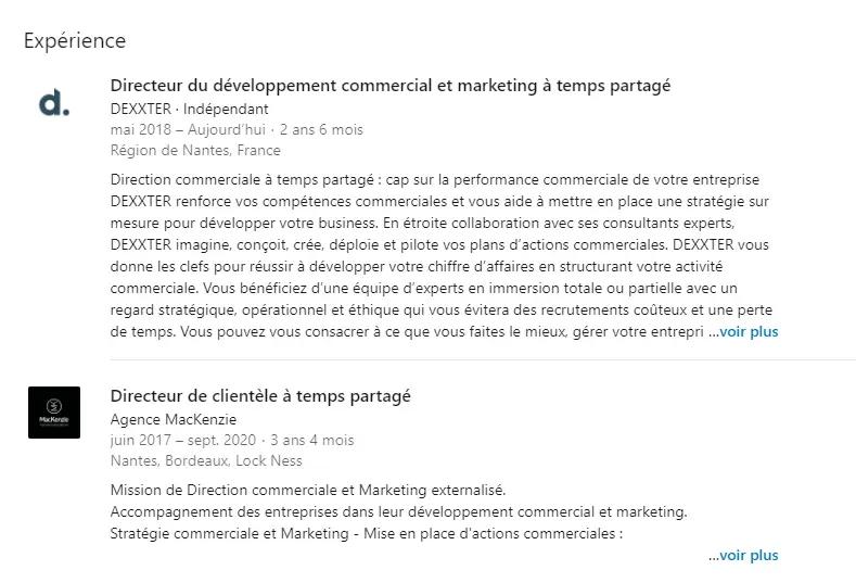 exemple de section expérience linkedin