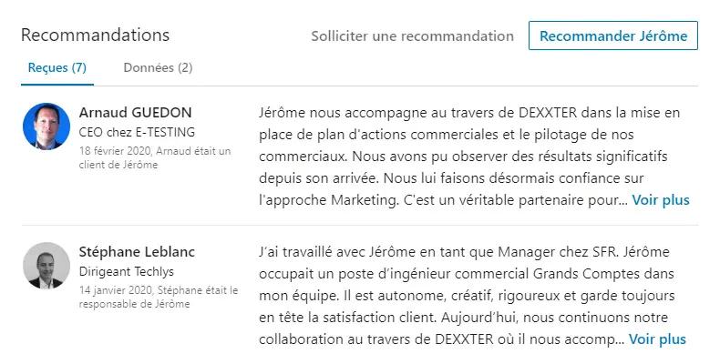 exemple de recommandations linkedin