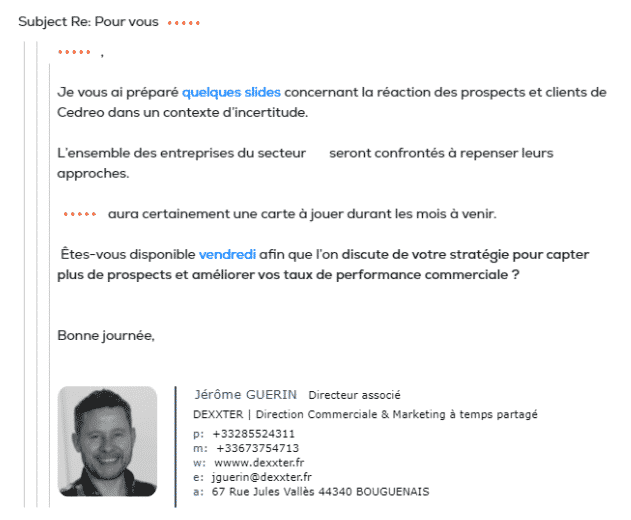 cold emailing exemple personnalisation 2