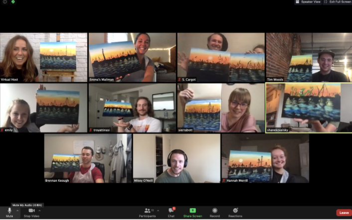 A screenshot of a group of people participating in a Zoom video chat