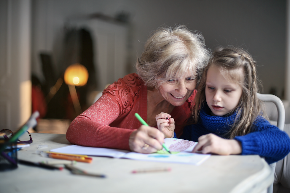 Grandma and granddaughter learning art together