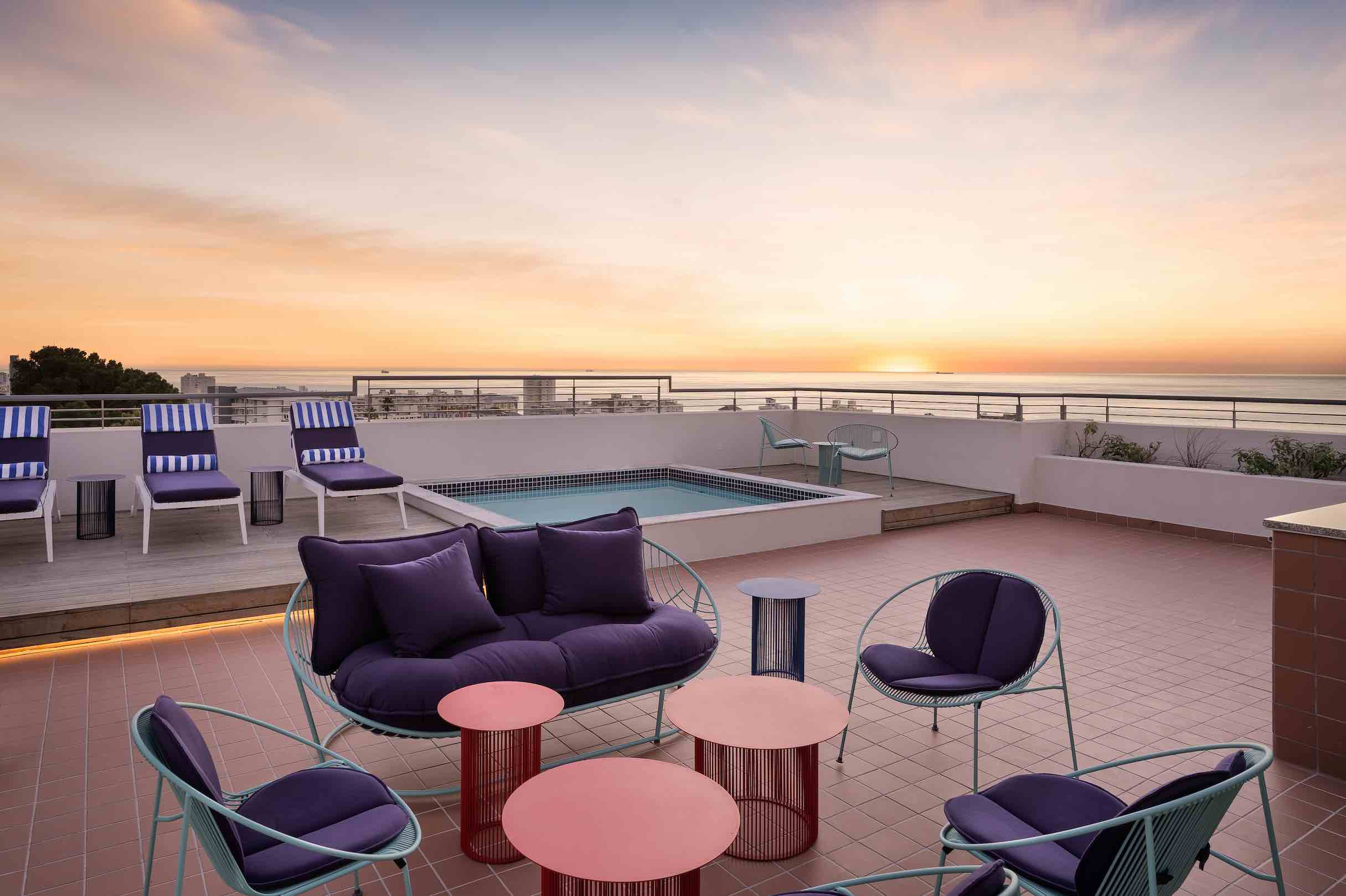 Home Suites Sea Point rooftop terrace with pool.