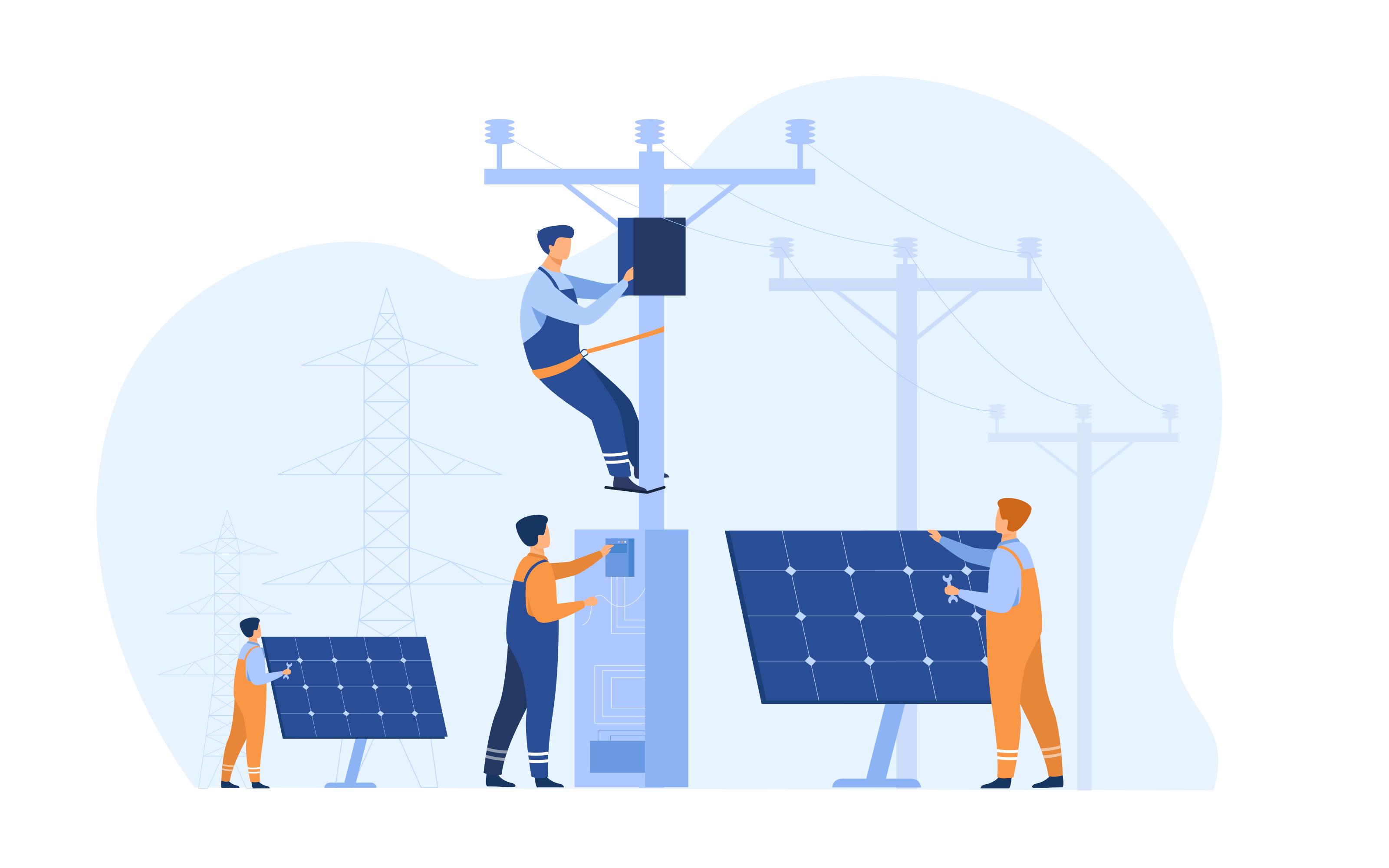 Ouvriers qui installent des panneaux solaires