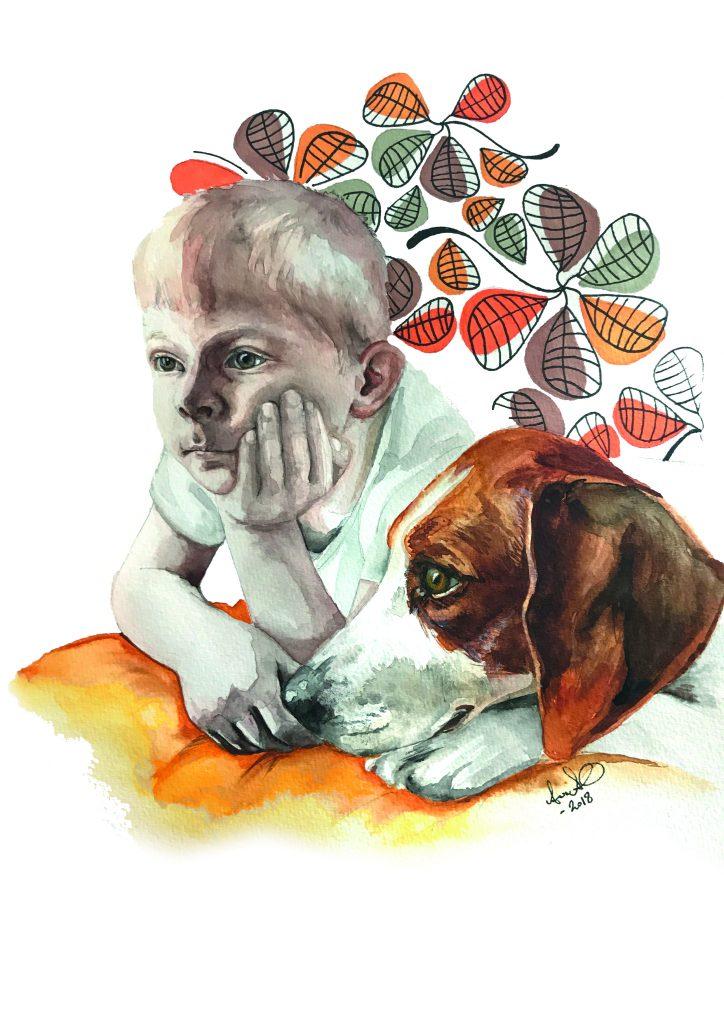 Porträtt på pojke med hund