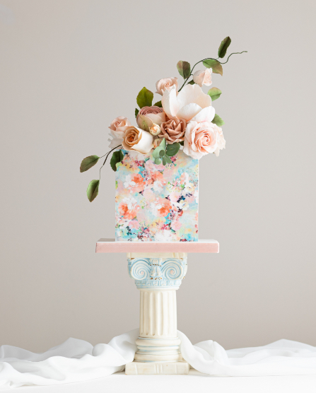 Floral painted celebration cake | By Posh & Cake
