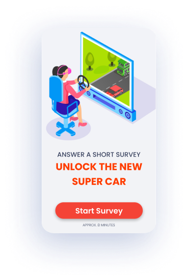 Person playing a vr game prompted to take a survey to unlock a car in the game