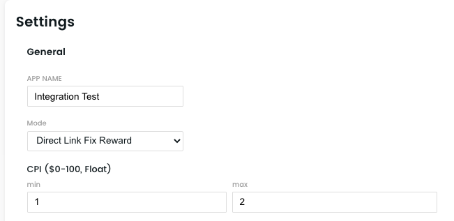 Setting up minimum and maximum CPI in the Publisher Dashboard for BitLabs Rewarded Surveys.