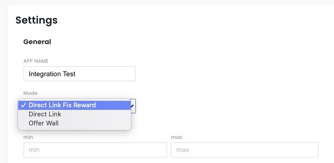 Select Direct Link Fixed Reward in the Settings Tab of our BitLabs Publisher Dashboard