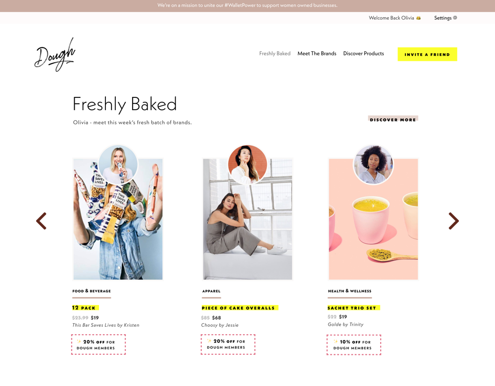 Some of the female-owned companies you can shop on Dough.