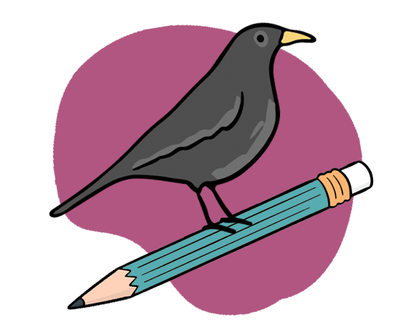 A cute bird perched on a pencil