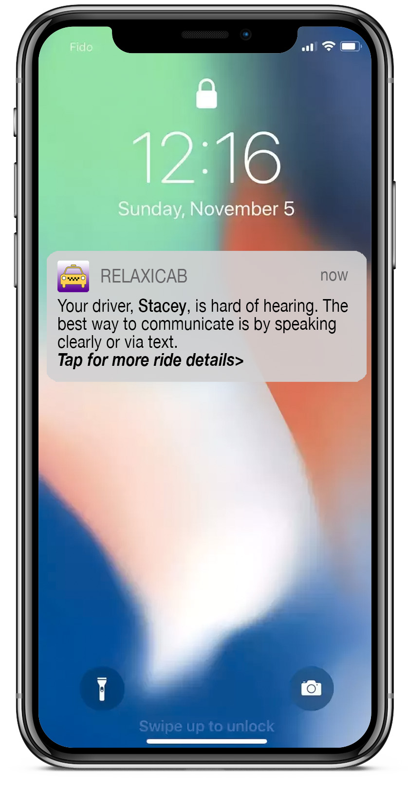 Your driver, Stacey, is hard of hearing. The best way to communicate is by speaking clearly or via text. Tap for more ride details>