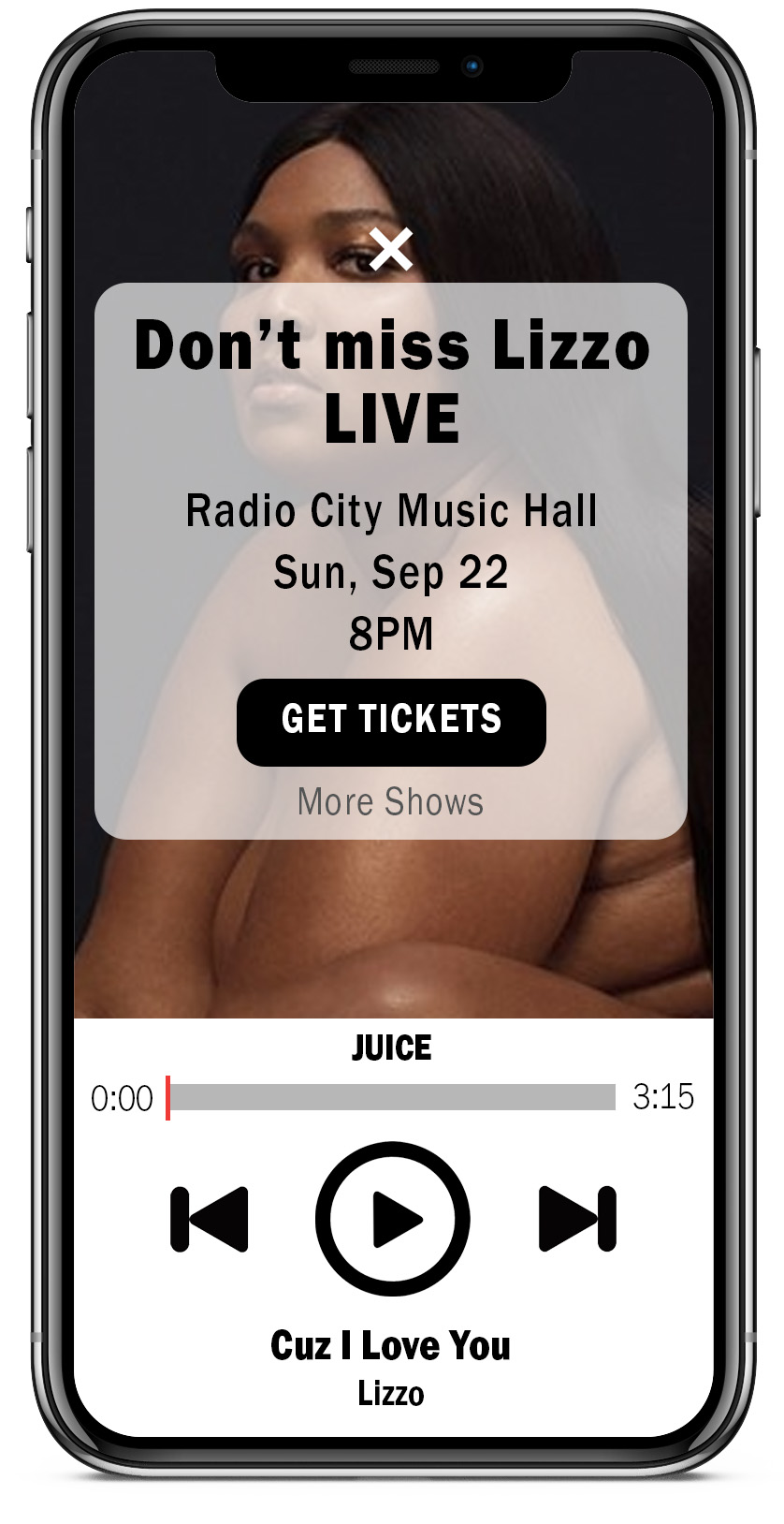 headline: Don't miss Lizzo live           body: Radio City Music hall            Sun, Sep 22           8PM           Buttons: Get Tickets  More Shows