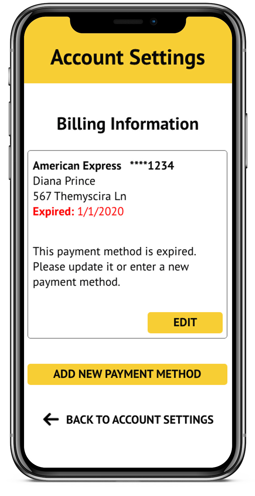 This payment method is expired. Please update it or enter a new payment method.           Button: EDIT
