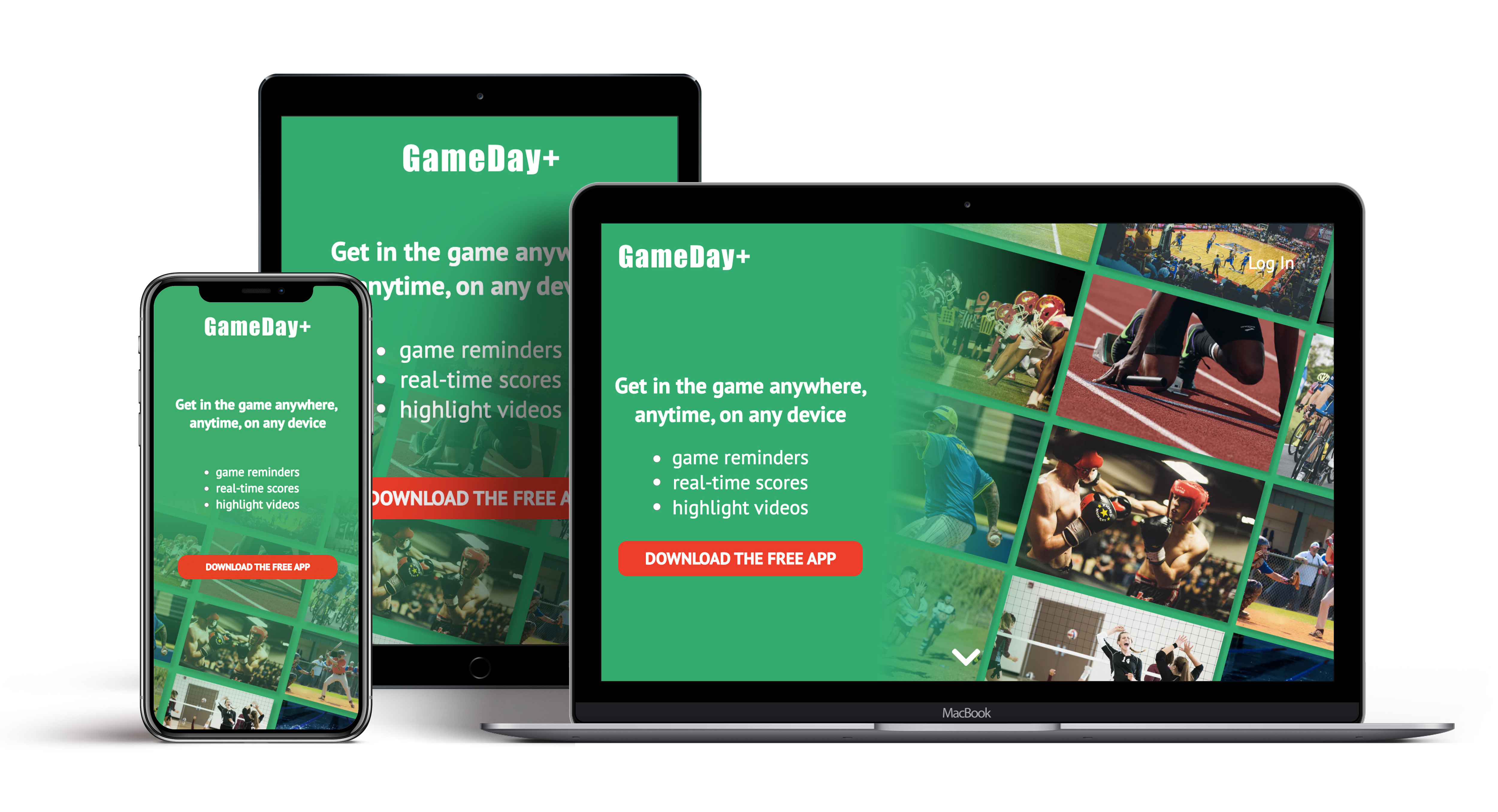 Headline: Get in the game anywhere, anytime, on any device           Body: game reminders real-time scores highlight videos           Buttons: DOWNLOAD THE FREE APP