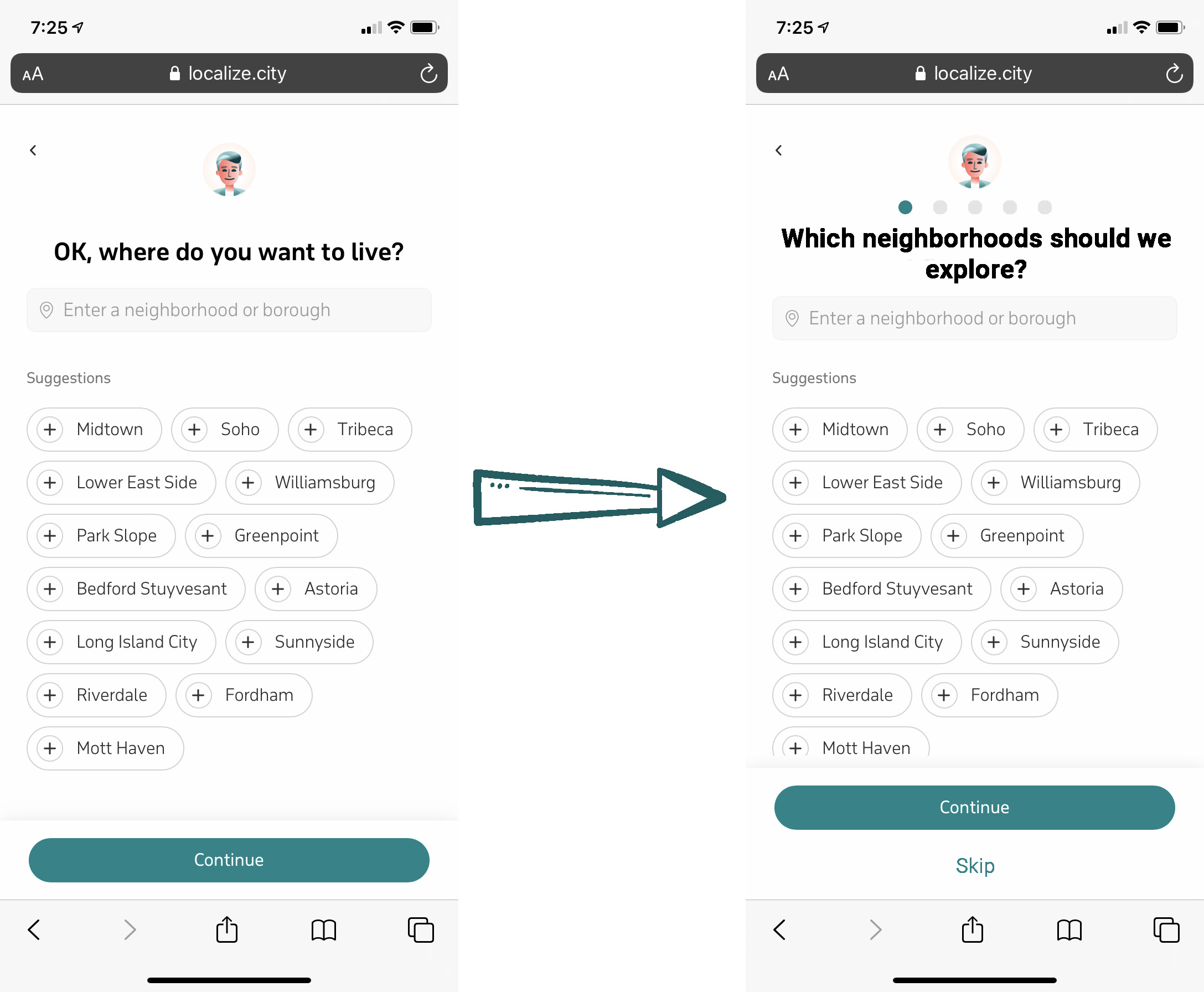 Before and after images of the third screen in the onboarding flow - neighborhood selection