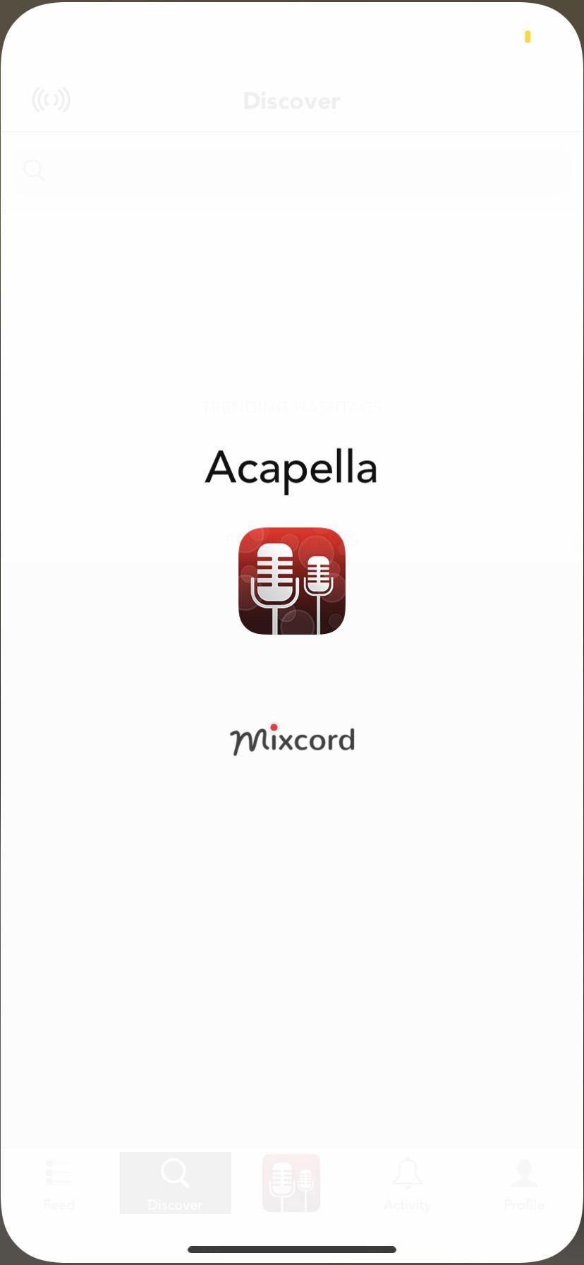 Acapella app welcome screen