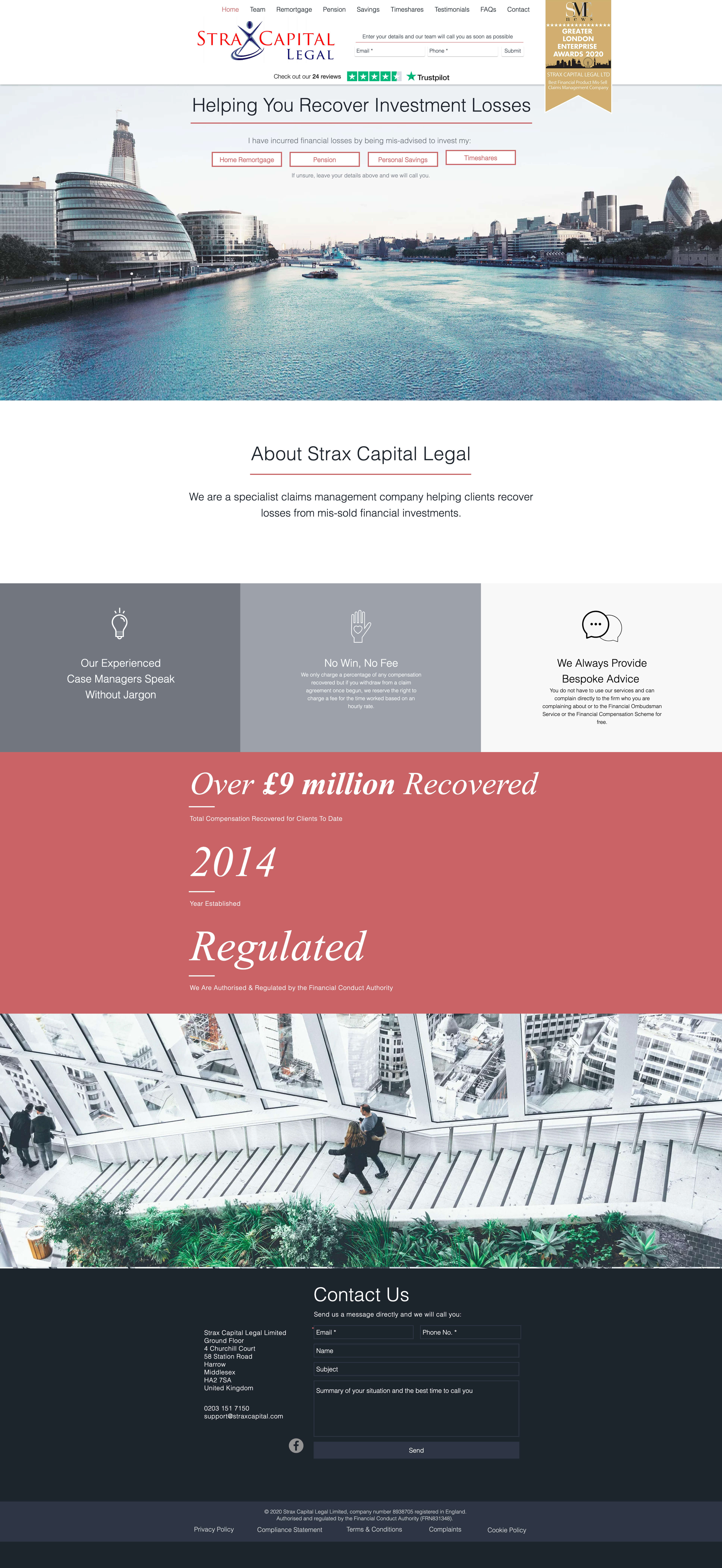 This is a screenshot from the Strax Capital website.