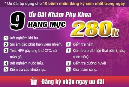 Gói khám phụ khoa ưu đãi 280k tại Hưng Thịnh Clinic.