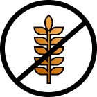 A picture of wheat, to represent gluten, crossed out.