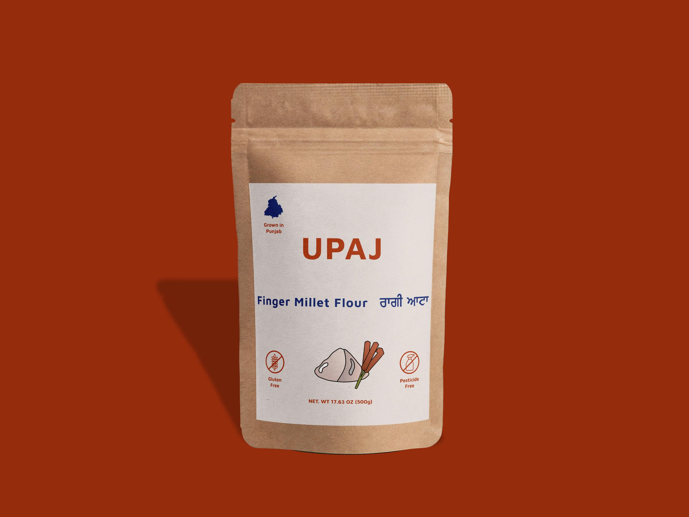 A pouch packaging of finger miller flour.