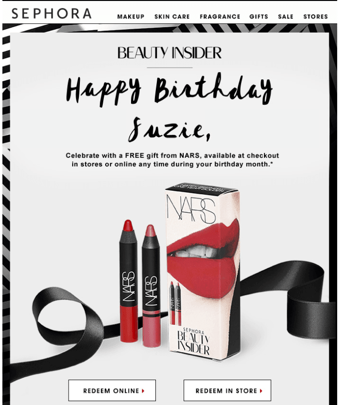 Members of Sephora's Beauty Insider program receive a free sample if they visit a store on their birthday.