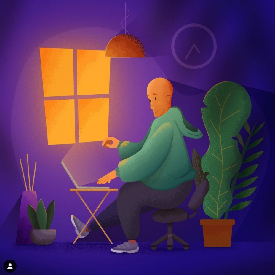 Colourful illustration of a designer working at night.