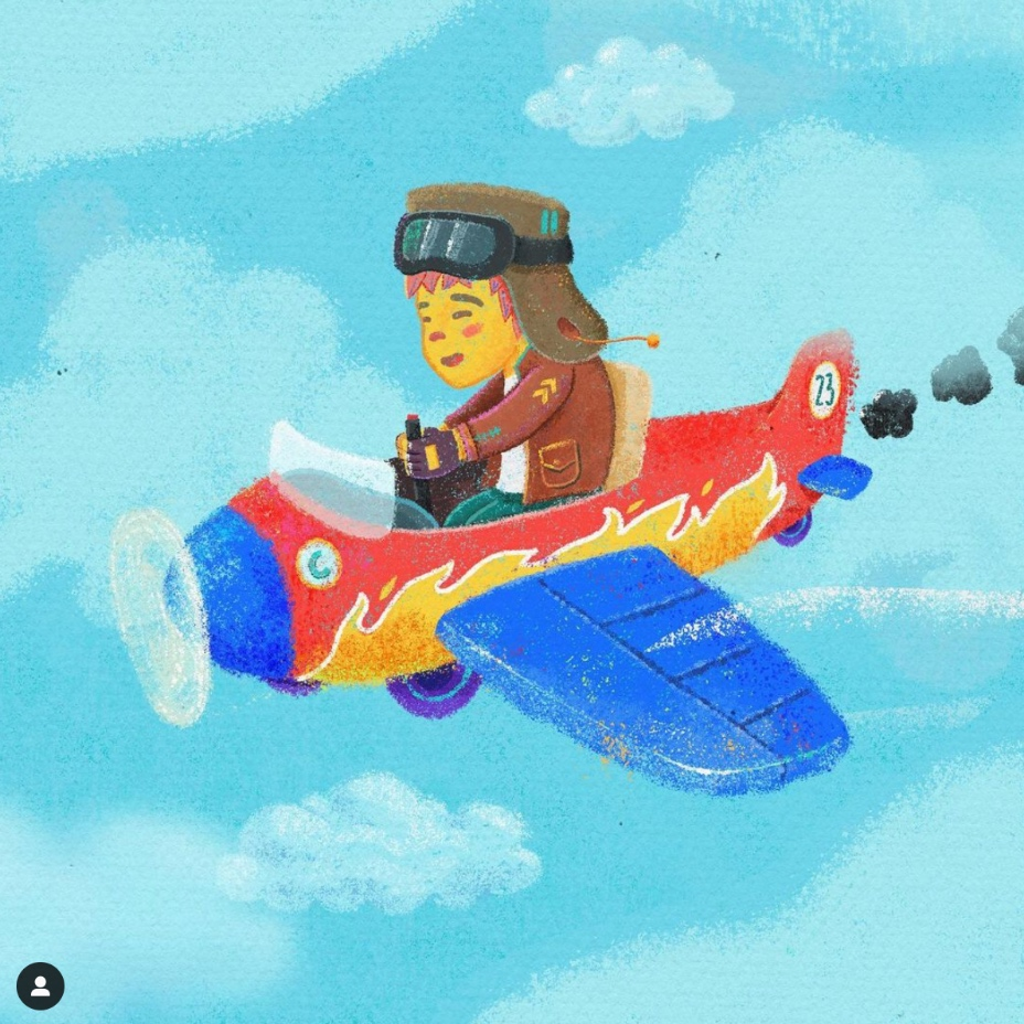 A cute and colourful illustration of a boy riding a toy plane.