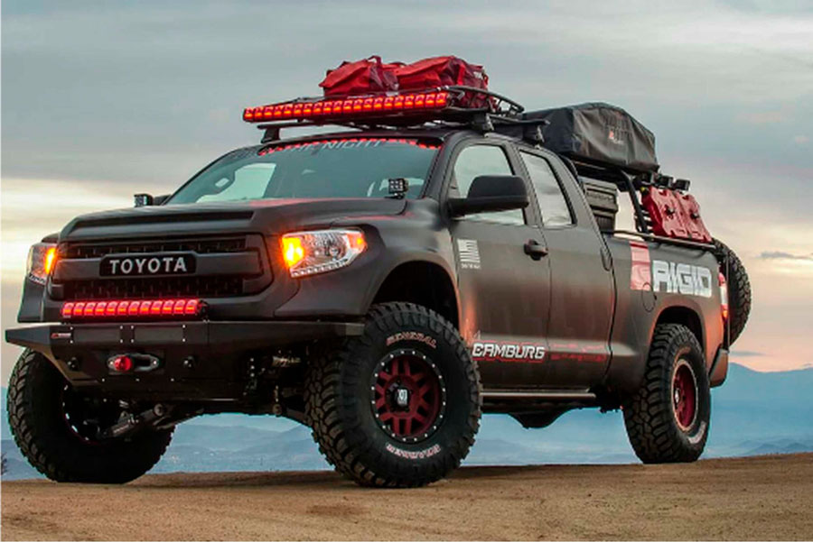 Custom truck geared out for adventure