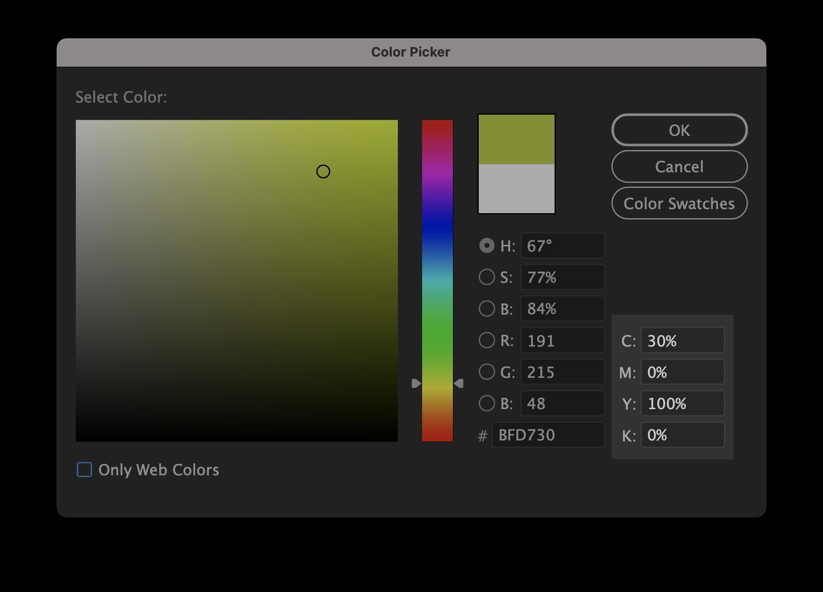 Illustrator color formula window