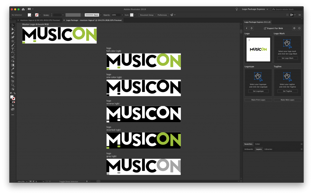 Logo Package Express extension with making logos from the originally selected artwork.
